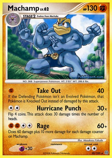 Reverse Holo Machamp Pokemon Stormfront 20/100