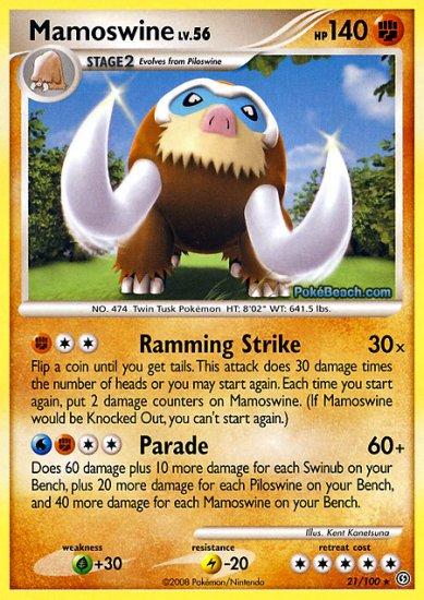 Reverse Holo Mamoswine Pokemon Stormfront 21/100