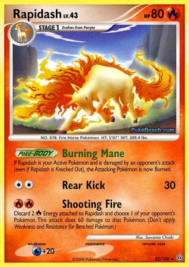 Reverse Holo Rapidash Pokemon Stormfront 22/100