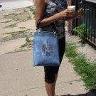 White Washed Denim Handmade Tote Bag