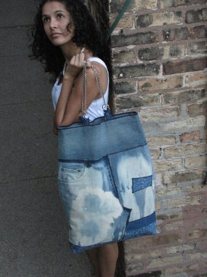Oversized Recycled Denim Handmade Handbag