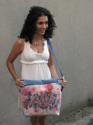 Recycled Graffiti Canvas Shoulder Bag