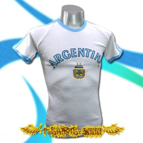 ARGENTINA WHITE SOCCER TEE T-SHIRT FOOTBALL RETRO Size M / B10