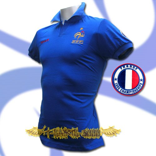 FRANCE BLUE FOOTBALL POLO T-SHIRT SOCCER Size L / M37