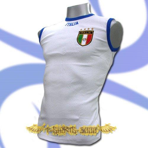 ITALY WHITE ITALIA SLEEVELESS FOOTBALL T-SHIRT SOCCER Size M / L02