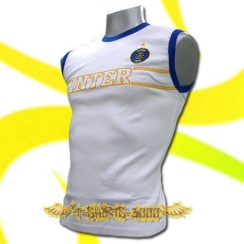 INTER MILAN WHITE SLEEVELESS FOOTBALL T-SHIRT SOCCER Size M / L19