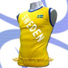 SWEDEN YELLOW SLEEVELESS FOOTBALL COOL T-SHIRT SOCCER Size M / L21