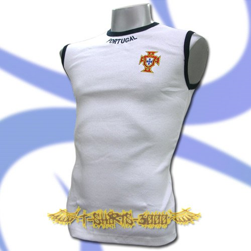 PORTUGAL WHITE FOOTBALL SLEEVELESS T-SHIRT SOCCER Size M / L34