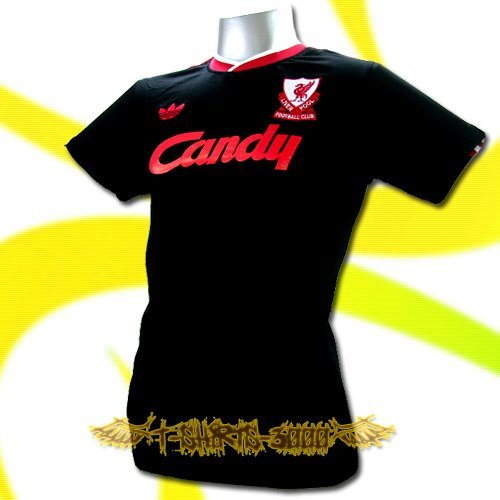 LIVERPOOL BLACK CANDY RETRO T-SHIRT SOCCER Size L / M17