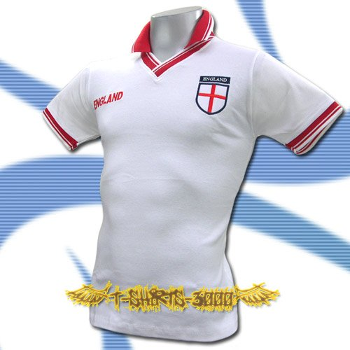 ENGLAND WHITE FOOTBALL V NECK POLO T-SHIRT SOCCER Size M / J38
