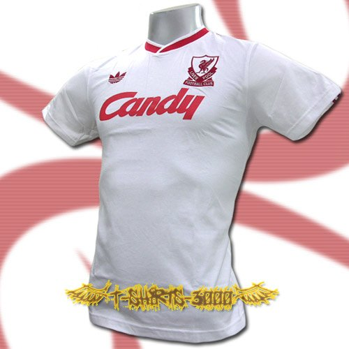LIVERPOOL WHITE CANDY FOOTBALL RETRO T-SHIRT SOCCER Size M / J77