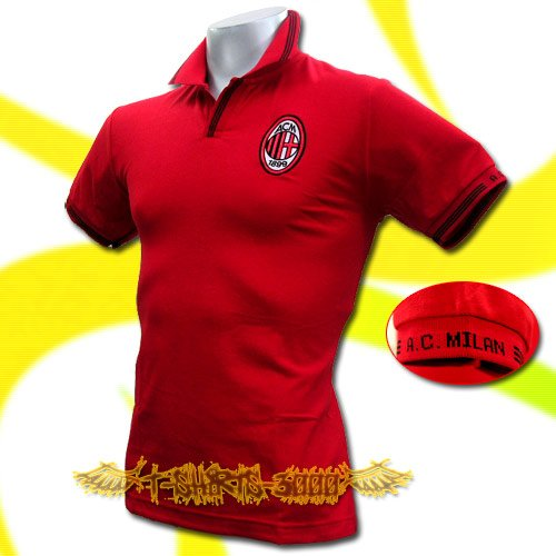 AC MILAN RED FOOTBALL COOL POLO T-SHIRT SOCCER Size M / K34