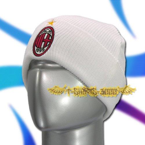 AC MILAN WHITE SOCCER BEANIE HAT SKULL CAP FOOTBALL / C03