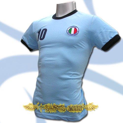 ITALY BLUE ITALIA FOOTBALL COOL T-SHIRT SOCCER Size L / L88