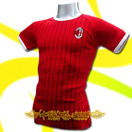 AC MILAN RED ATHLETIC FOOTBALL TEE T-SHIRT SOCCER Size M / L54