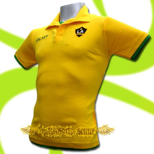LA GALAXY YELLOW FOOTBALL POLO T-SHIRT SOCCER Size M / K42