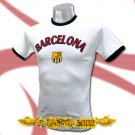 BARCELONA WHITE NEW FOOTBALL TEE T-SHIRT SOCCER Size M / D03