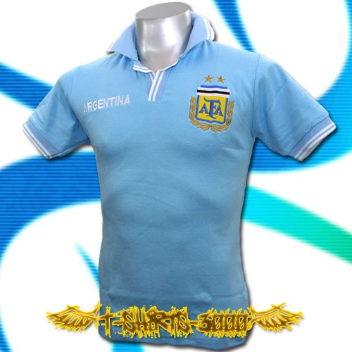 ARGENTINA BLUE FOOTBALL POLO TEE T-SHIRT SOCCER Size M / D95