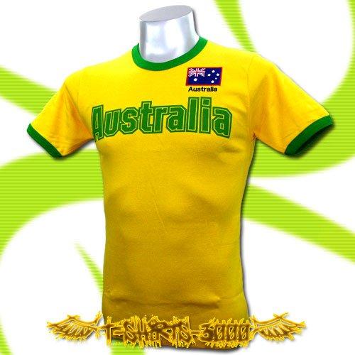 AUSTRALIA YELLOW FOOTBALL TEE T-SHIRT SOCCER Size M / E12