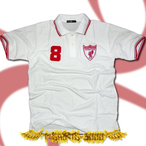 LIVERPOOL WHITE SOCCER POLO T-SHIRT FOOTBALL Size M / G43