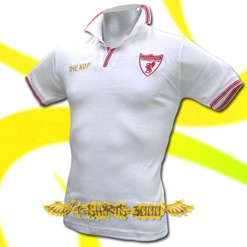 LIVERPOOL KOP GOLD WHITE FOOTBALL POLO T-SHIRT SOCCER Size M / i83