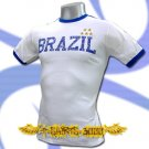 BRAZIL WHITE 5 STARS FOOTBALL COOL T-SHIRT SOCCER Size M / J07
