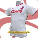 LIVERPOOL WHITE CANDY RETRO T-SHIRT SOCCER Size L / K52