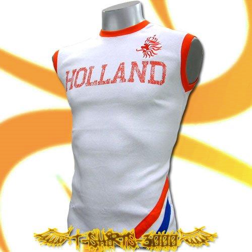 HOLLAND WHITE SLEEVELESS FOOTBALL T-SHIRT SOCCER Size M / K98
