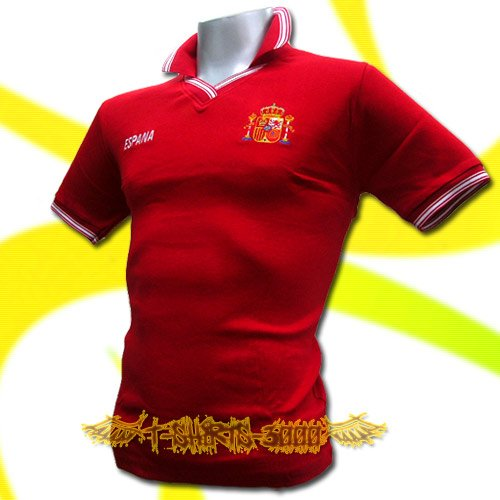 SPAIN RED ESPANA FOOTBALL POLO T-SHIRT SOCCER Size M / M64