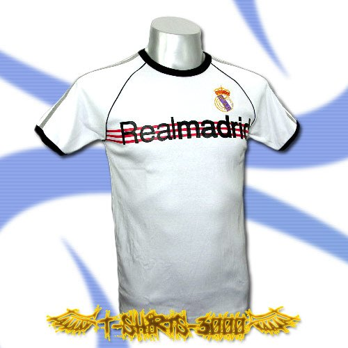 REAL MADRID WHITE SOCCER RETRO T-SHIRT FOOTBALL Size M / A15