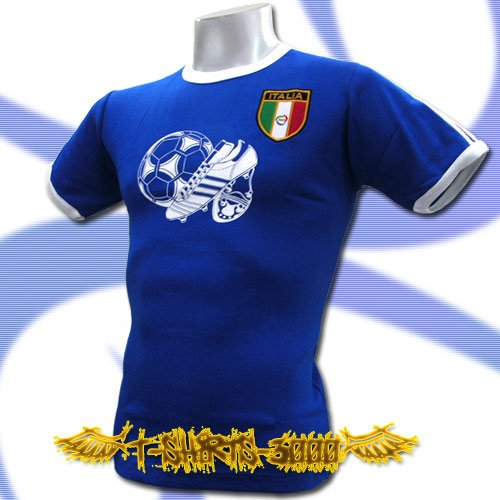 ITALY ITALIA BLUE FOOTBALL COOL TEE T-SHIRT SOCCER Size M / i53