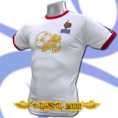 FRANCE GOLD WHITE SOCCER ATHLETIC T-SHIRT FOOTBALL Size M / i56
