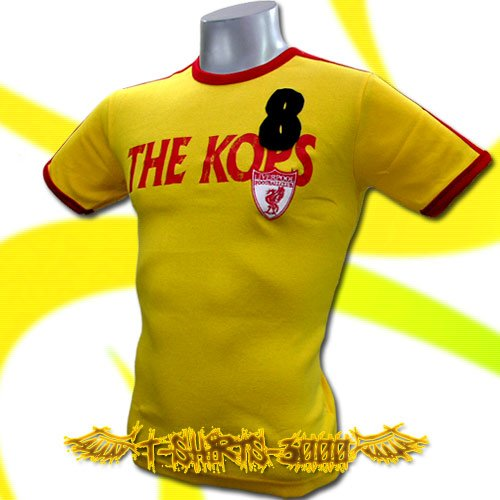 LIVERPOOL THE KOPS YELLOW #8 SOCCER T-SHIRT FOOTBALL size M / i61