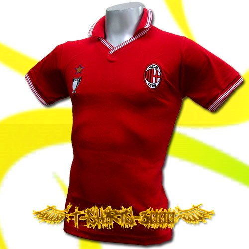 AC MILAN RED CHAMPION V NECK POLO SHIRT SOCCER / J28