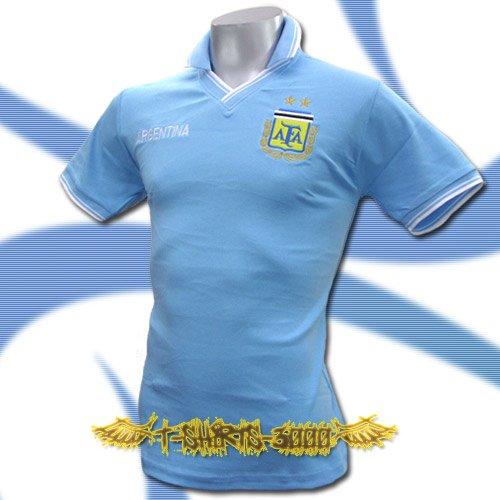 ARGENTINA BLUE FOOTBALL V NECK POLO T-SHIRT SOCCER Size M / J29