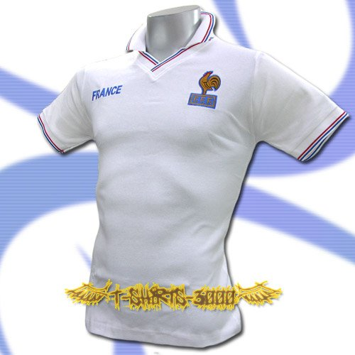 FRANCE WHITE FOOTBALL COOL V NECK POLO T-SHIRT SOCCER Size M / J31