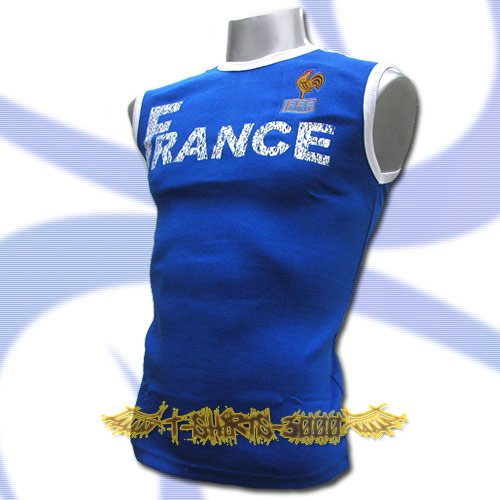 FRANCE BLUE FOOTBALL COOL SLEEVELESS T-SHIRT SOCCER Size M / L10
