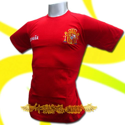 SPAIN RED ESPANA FOOTBALL T-SHIRT SOCCER Size L / M03