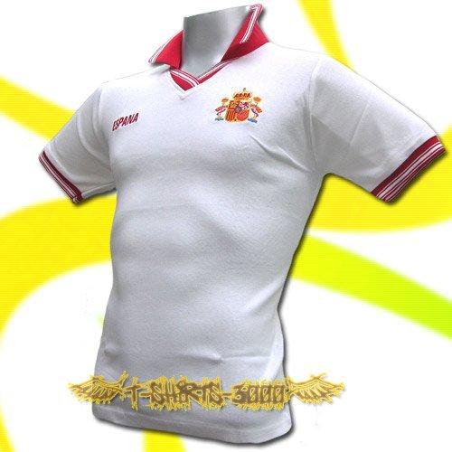 SPAIN WHITE ESPANA FOOTBALL POLO T-SHIRT SOCCER Size M / M63