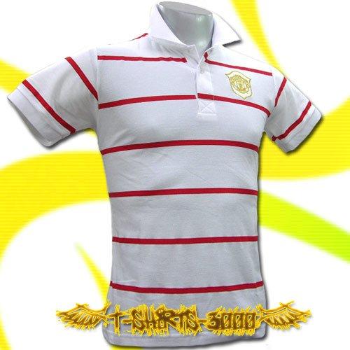 MAN UNITED UTD GOLD WHITE/RED POLO T-SHIRT SOCCER Size M / i21
