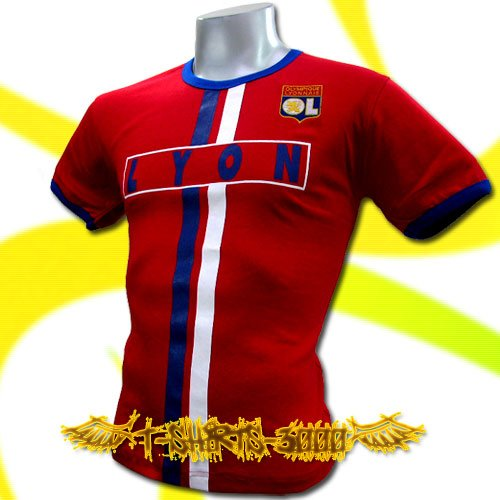 OLYMPIQUE LYONNAIS RED FOOTBALL TEE T-SHIRT SOCCER Size M / J51