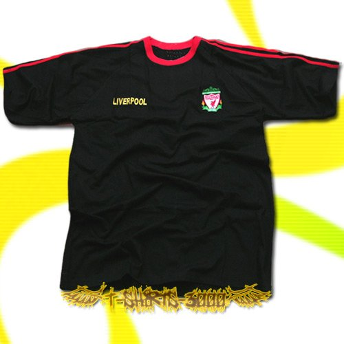 LIVERPOOL BLACK FOOTBALL T-SHIRT SOCCER Size XL / K65