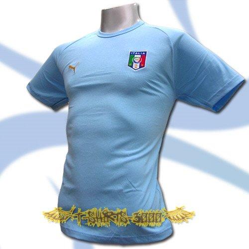 ITALY LIGHT BLUE ITALIA FOOTBALL T-SHIRT SOCCER Size L / M13