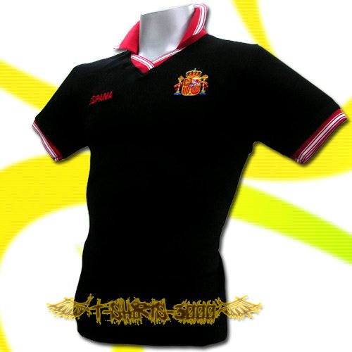 SPAIN BLACK ESPANA FOOTBALL POLO T-SHIRT SOCCER Size M / M65