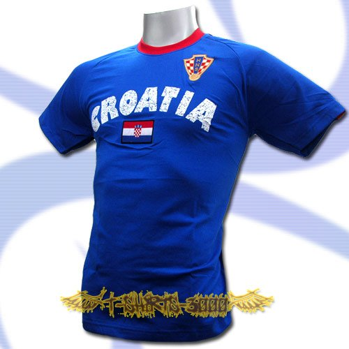 CROATIA BLUE FOOTBALL COOL T-SHIRT SOCCER Size L / L64
