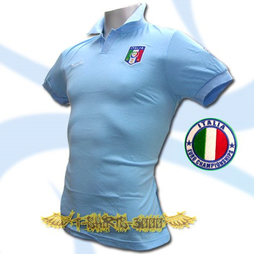 ITALY LIGHT BLUE ITALIA POLO T-SHIRT SOCCER Size L / M45