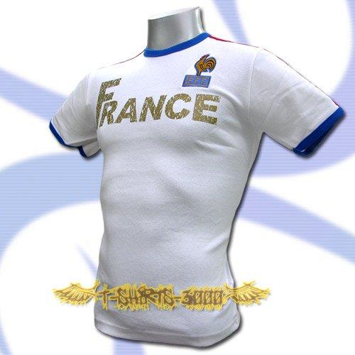 FRANCE WHITE FOOTBALL ATHLETIC TEE T SHIRT SOCCER Size M / K58