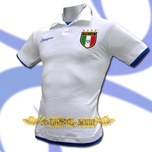 ITALY WHITE ITALIA FOOTBALL COOL POLO SHIRT SOCCER Size M / K80