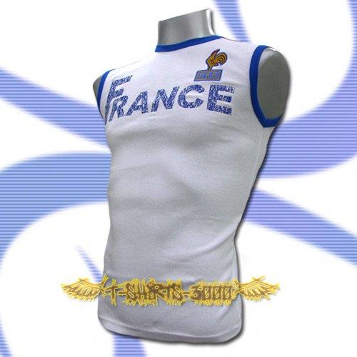 FRANCE WHITE FOOTBALL SLEEVELESS T SHIRT SOCCER Size M / L11