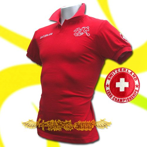 SWITZERLAND RED FOOTBALL POLO T SHIRT SOCCER Size L / M50